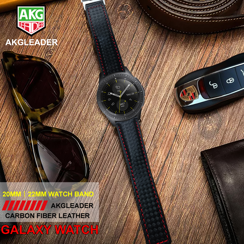 AKGLEADER Newest For Samsung Galaxy Watch S4 42mm 44mm Genuine Carbon Fiber Leather Strap Band Watchbands For Samsung Gear S3AKGLEADER Newest For Samsung Galaxy Watch S4 42mm 44mm Genuine Carbon Fiber Leather Strap Band Watchbands For Samsung Gear S3