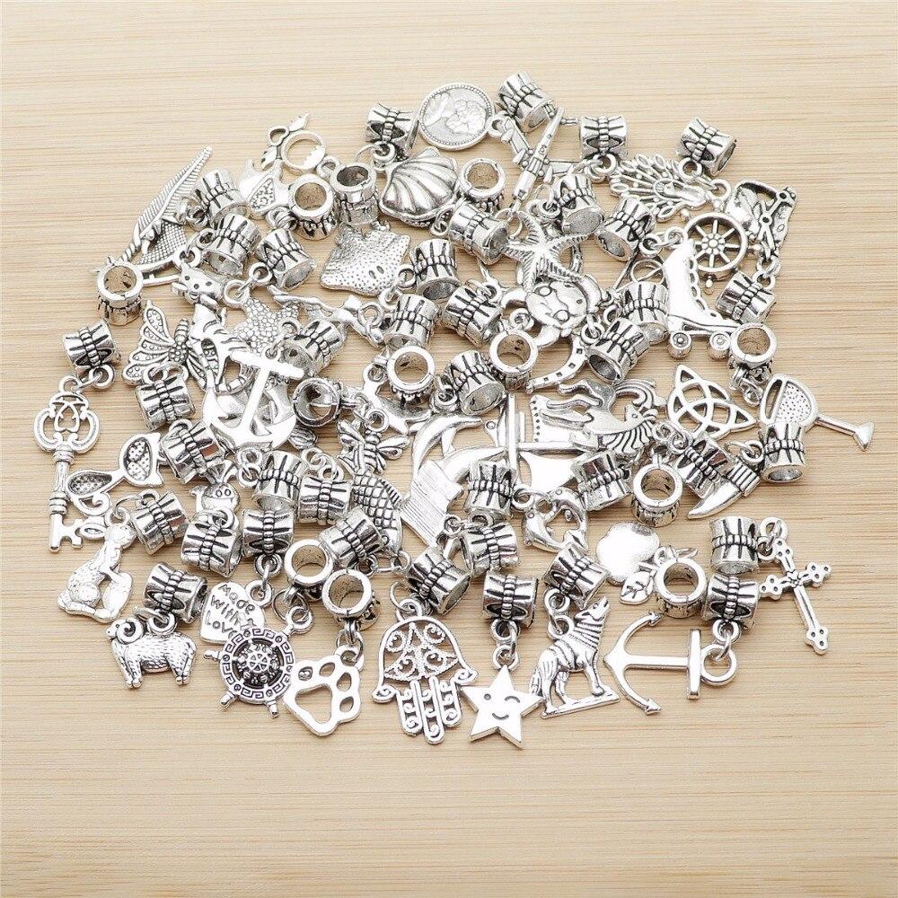 Mixed 50pcs Tibetan Silver Bead Charms big hole pendant fit for pandora style bracelet DIY pendants for jewelry making
