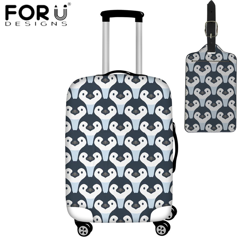 FORUDESIGNS Travel On Road Luggage Cover Puzzle Style Penguin Elastic Suitcase Protective Covers Funny Baggage Cover Luggage Tag