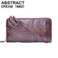Бумажник аллигатора острым коготь 100% кожи аллигатора для мужчин кошелек Роскошные дизайнер качество модные женский кожаный бумажник класс