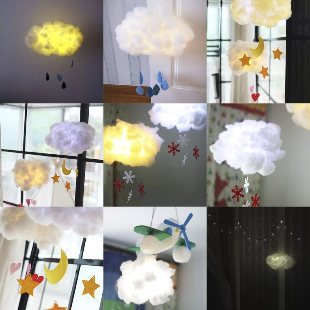 Kawaii Cute Design DIY Handmade Cotton Cloud Light Hanging Lamp Cartoon Students Bedroom Corridor Party Decoration Night Light