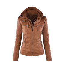 Long sleeves 2016 leather zipper jacket women fashion solid color hoodie jacket