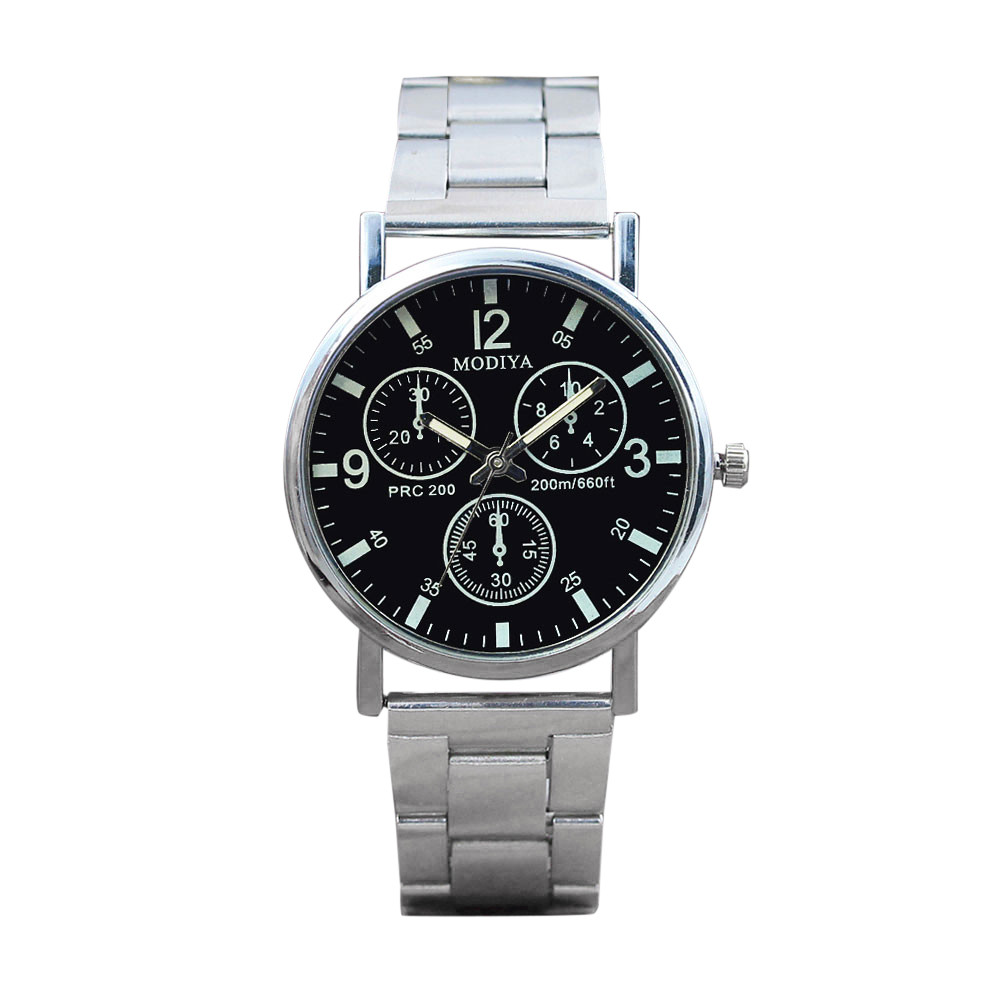 horloge mannen Casual and Fashion Steel strip Blue Glow Glass Bracelet Clasp luxury watch in Black HIgh Quality Hot Fashion