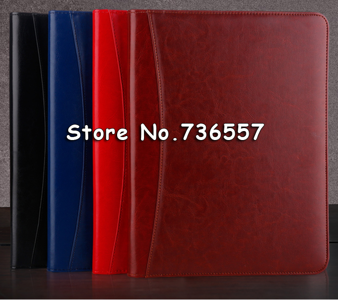 Free Shipping A4 Office PU Leather Zipper Portfolio  Folder Document Business Executive Padfolio Classification