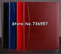 Office A4 PU Leather Zipper Portfolio Business Executive Padfolio Classification Folder Document Clip Holder Calculator Pen