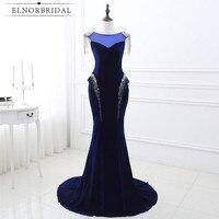 Real Photos Navy Mermaid Evening Dresses 2017 Corset Back Sheer Prom Dress Cap Sleeve Vestido Longo