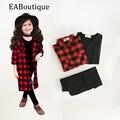 EABoutique Зима Уличная Мода Длинные Красный Плед Куртка с жилет конструкции отверстие брюки девушки одежду установить 3 шт.