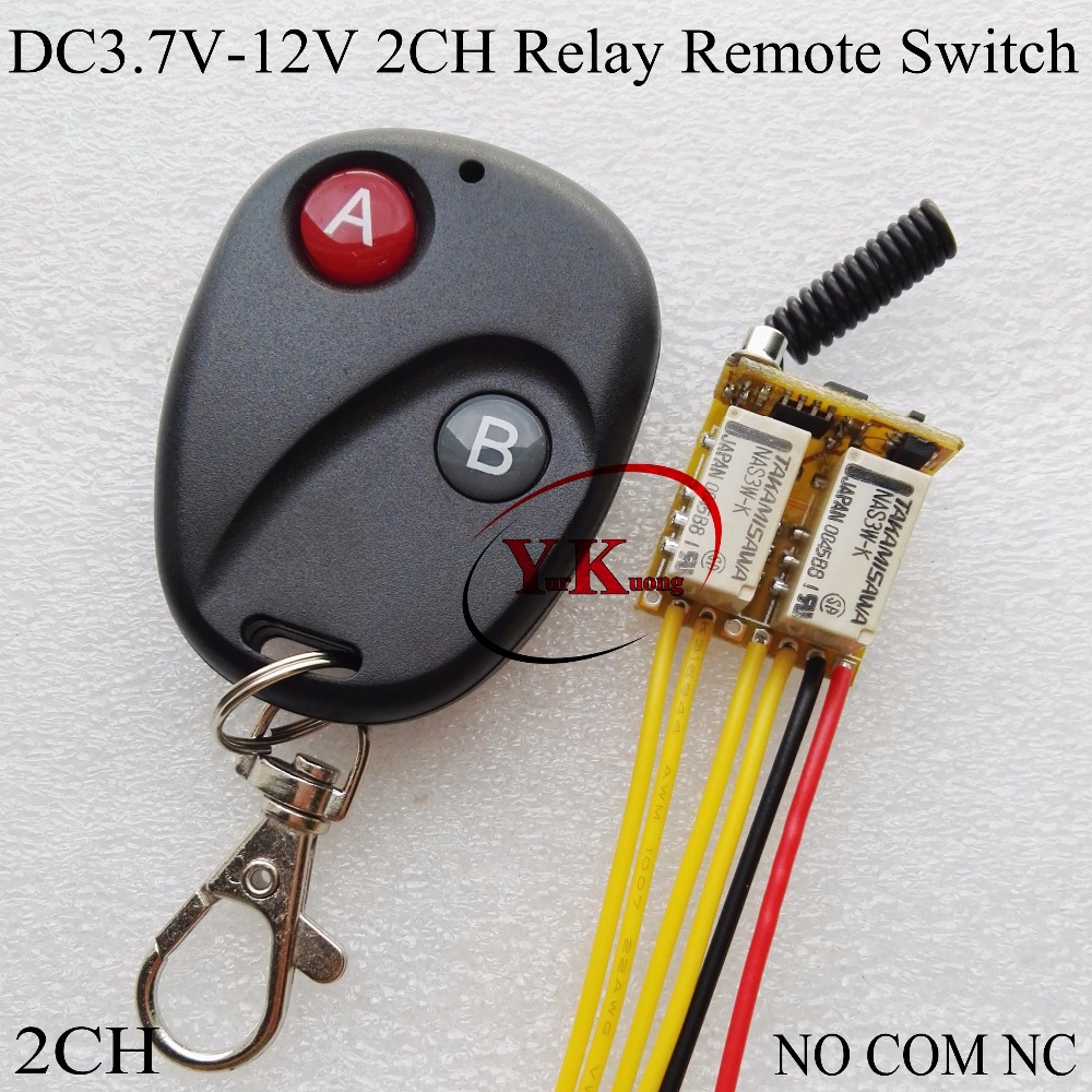 Remote Switch 2 Mini Relay Contact RF Wireless Remote Control Switch NO COM NC 2A Push Button Power Cable Line Remote ON OFF ASK