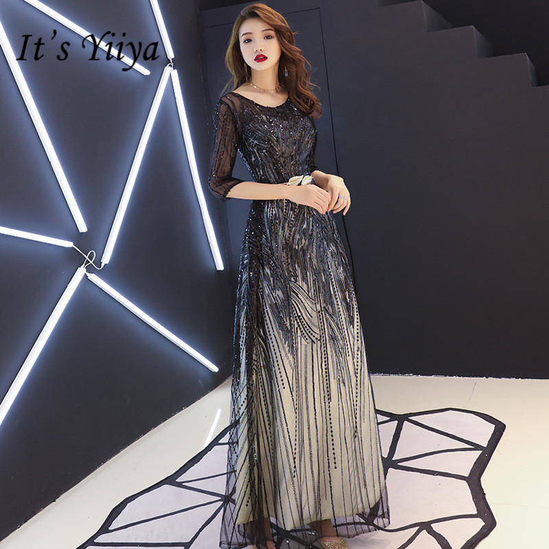 It's YiiYa Evening Dress Shining  Sequins Long Formal Prom Gowns Half Sleeve Zipper Design Black Plus Size Party Dresses  E104