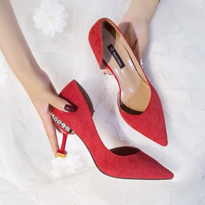 Nuevo Con rojo Negro Diamantes Novia Otoño 2019 Boda Primavera Zapatos Rojos Aguja Fino Imitación De Tacones 6wZxnTExR