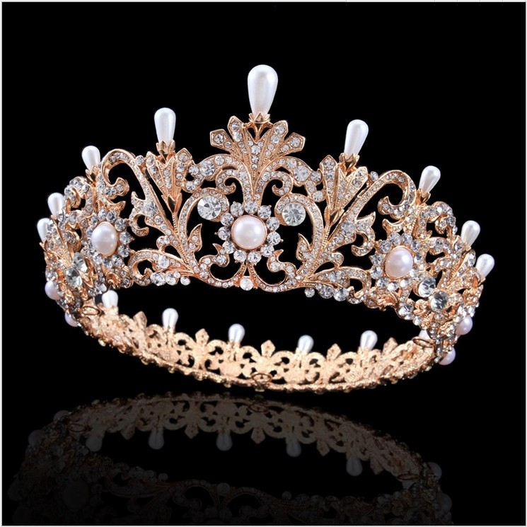 SHOSIXUAN Charm Rhinestone Zircon Crown Bridal Tiara Crystal For Bride Princess Pageant Wedding Hair Accessories (Gold) 03 red gold bride wedding hair tiaras ancient chinese empress hat bride hair piece