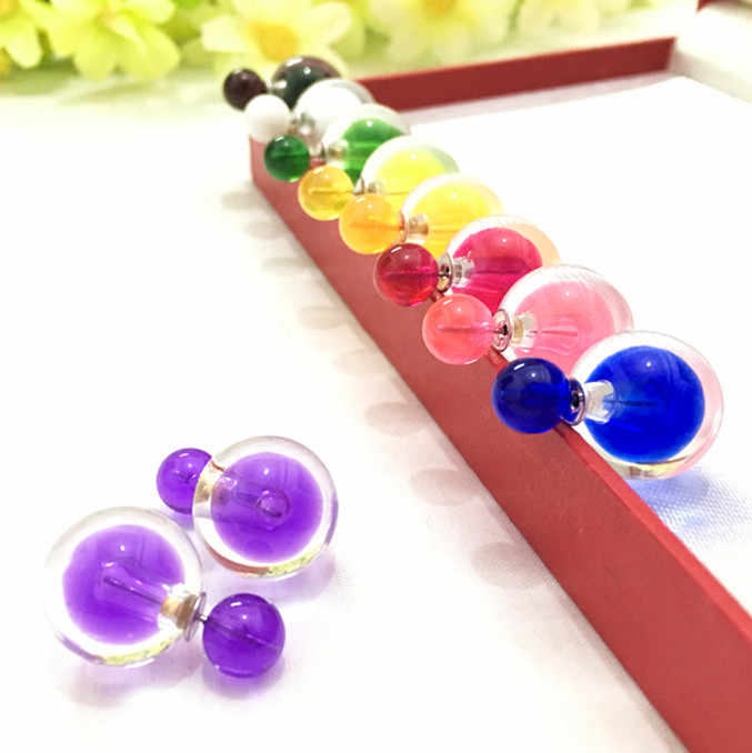 new fashion design beautiful Hawthorn Earrings hot attractive crystal shop double ball rainbow color earrings for women  4ED76