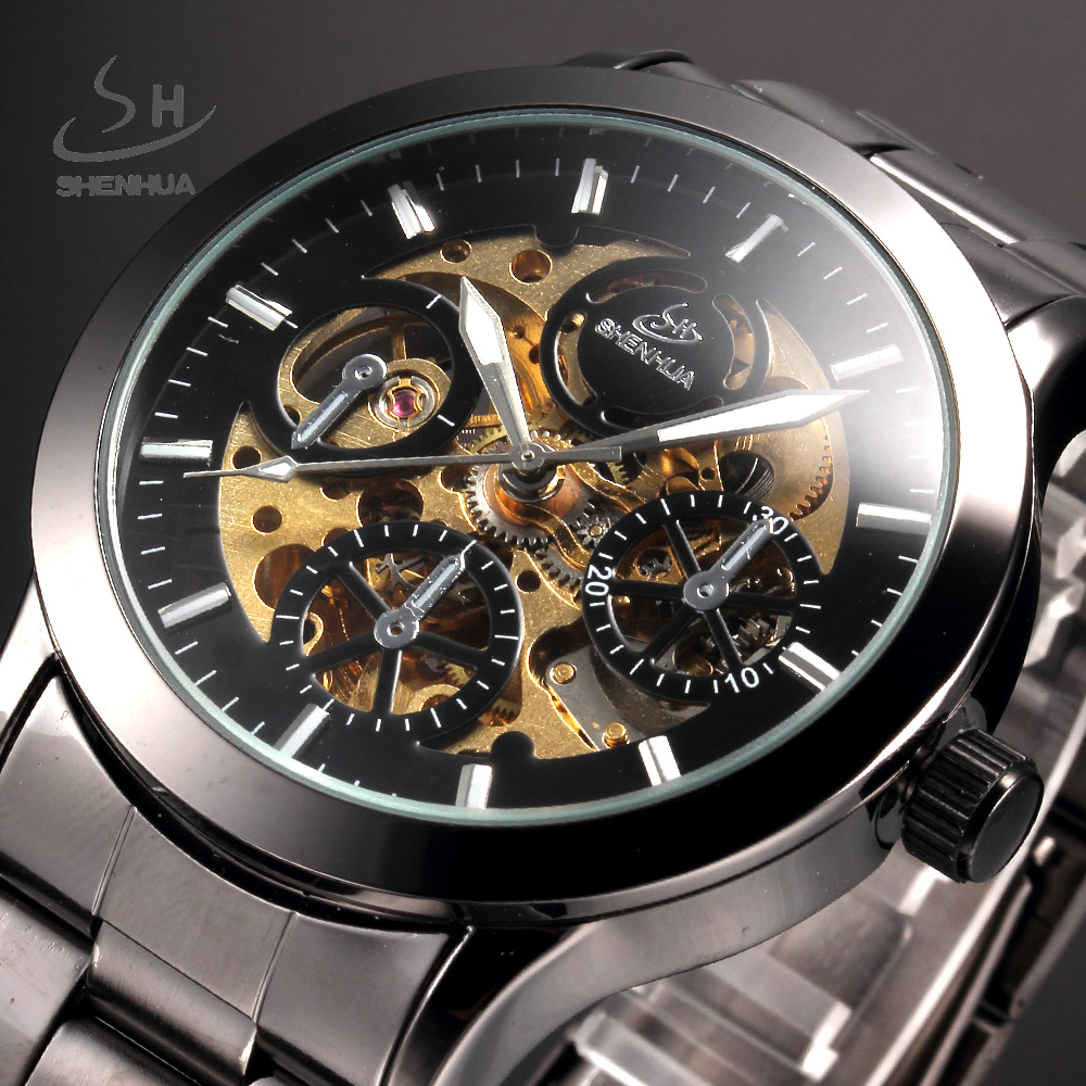 SHENHUA Vintage Men Hollow Skeleton Mechanical Watches Analog Male Clock Brown Stainless Steel Strap Automatic Self Wind Watch ks black skeleton gun tone roman hollow mechanical pocket watch men vintage hand wind clock fobs watches long chain gift ksp069