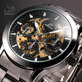 SHENHUA Vintage Men Hollow Skeleton Mechanical Watches Analog Male Clock Brown Stainless Steel Strap Automatic Self Wind Watch