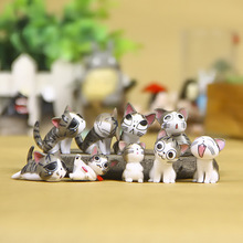 Kawaii 9Pcs Chiแมวรูปขนาดเล็ก3ซม.ภูมิทัศน์ขนาดเล็กChis Sweet Kitten Emoticonตกแต่งPVCรุ่นของเล่นตกแต่งบ้าน