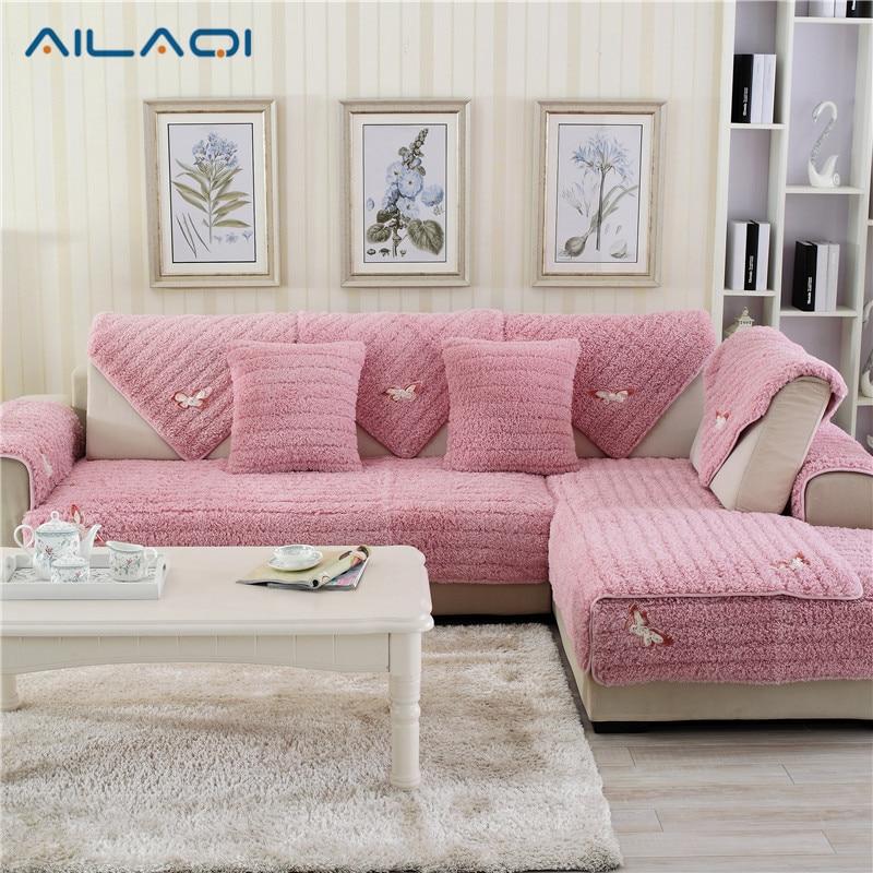 Europe white apricot striped slipcover cotton linen lace sofa cover ...