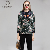SEQINYY Casual Blazers 2018 Early Autumn Woman's New Fashion Long Sleeve High Quality Printed Vintage Luxurious Outerwear Jacket