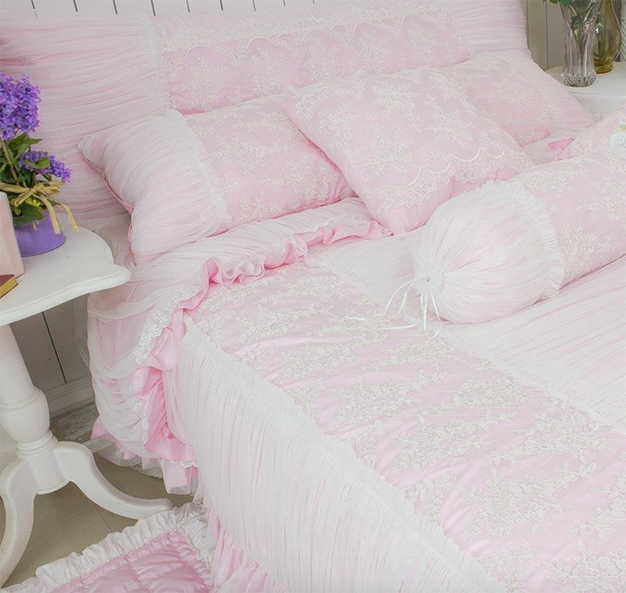 Романтический принцессы с оборками кружева постельных принадлежностей, девушка twin Полный Королева Король розовый цветочный домашний текс