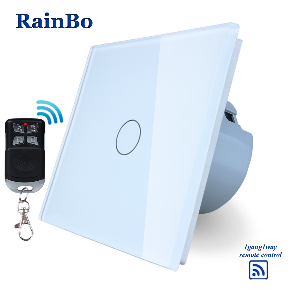 RainBo Crystal Glass Panel Switch Wall Switch EU Touch Switch Screen Wall Light Switch 1gang1way 110~250V LED lamp A1913CW/BR01 eu plug 1gang1way touch screen led dimmer light wall lamp switch not support livolo broadlink geeklink glass panel luxury switch