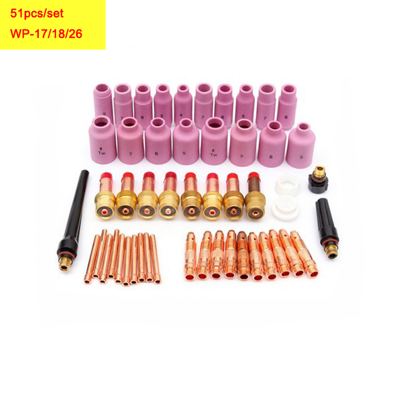 51pcs/set TIG Gas Lens Collet Body Consumables Kit Fit WP 17 18 26 TIG Welding Torch tig 26 wp 26 wp26 wp 26 tig 26 tig welding torch dinse connection quick connector gas electric seperated 4m