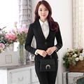 3 sets desgaste de la oficina elegante para mujer pantalón trajes de tamaño personalizado mujeres trajes formales ropa de trabajo blazer negro femme marca de grande taille B114