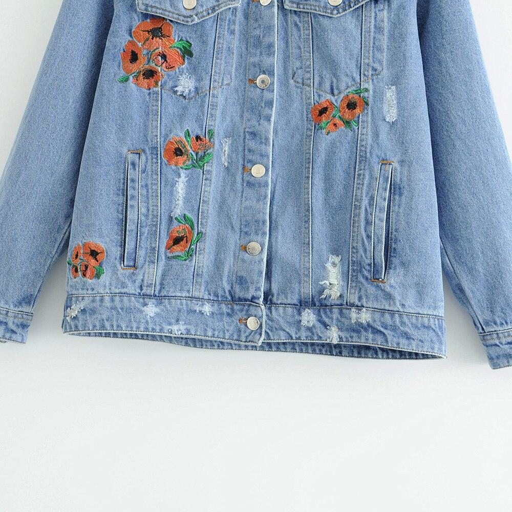 Femmes Mode Floral Yn Effiloché Embrodiery Outwear Manteau En Unique Bleu Poitrine Jean 4856 Rivet Veste Jeans rCrwqxad