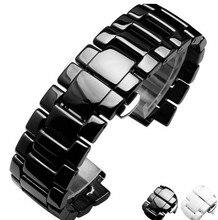 19 mm 22 mm negro de cerámica correa banda cinturón + hebilla de cierre de ajuste para AR1425