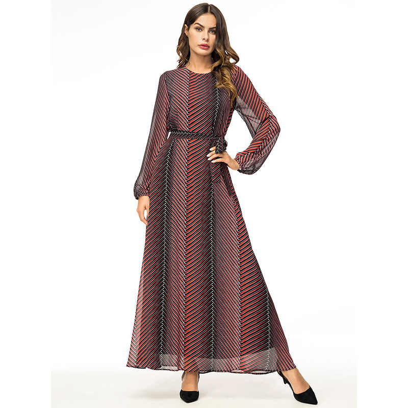 7547ad0dbbc WHZHM Chiffon Plus Size 4XL Robe Sashes Muslim Dress Women Long Casual  Female Robe Plus Size