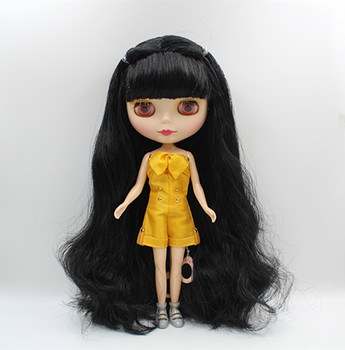 Blygirl Blyth doll Nude doll black bangs dolls can be closed eyes frosted face shell 30cm ordinary body for their own makeup