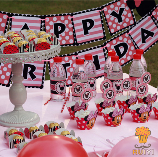 Minnie Mouse Theme Kids Happy Birthday Party Supplies Baby Shower Candy Bar Decorations Event AW 1635