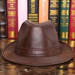 New Male 100% Genuine Leather Jazz Hat Adult Fedoras Hat Male Sheepskin Fedoras Cap Elderly Quinquagenarian Cowboy Hat B-7284