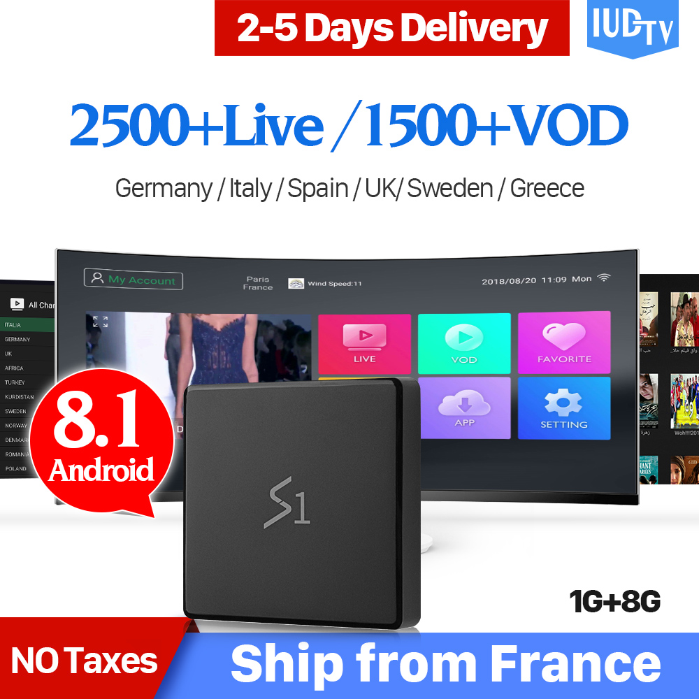 Leadcool S1 IPTV Spain Box with 1 Year IUDTV Subscription Android 8.1 RK3229 Sweden Arabic Poland UK Italy IP TV