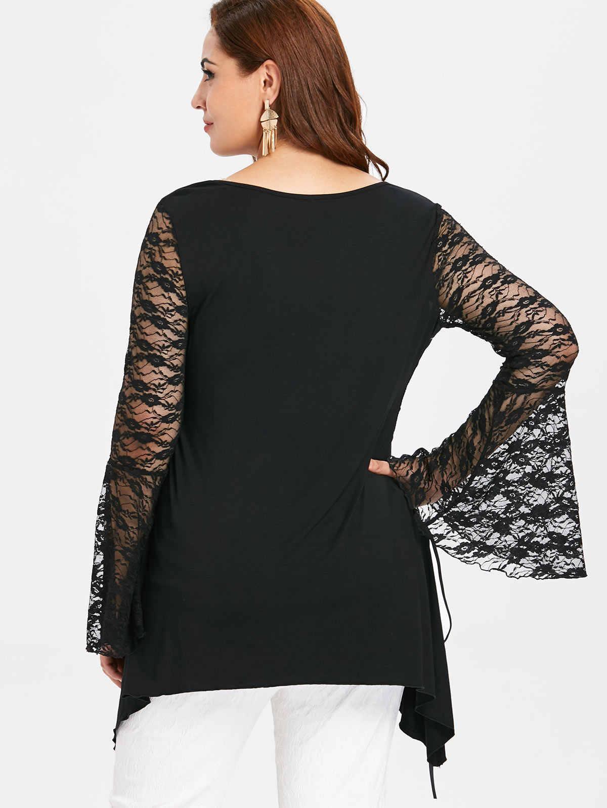 Wipalo de talla grande 5XL puro encaje de manga larga de Halloween camiseta negro sólido cuello redondo acampanado manga de encaje hasta el lado túnica camiseta