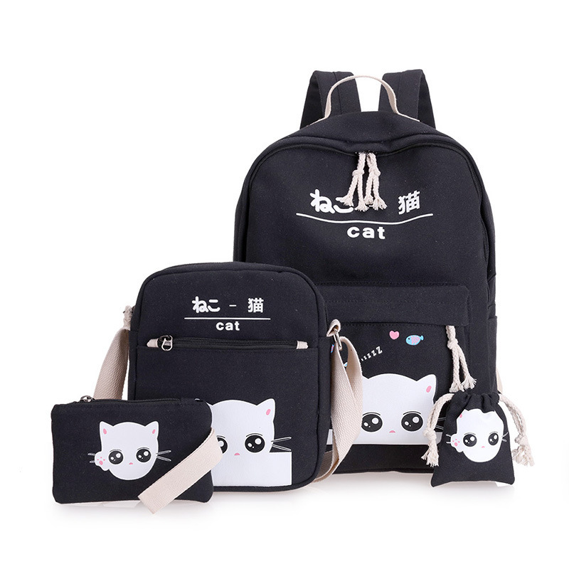 DIOMO 4pcs/Set Laptop School Backpacks For Girls Boys Teenagers Female Bagpack Sac A Dos Femme Cute Cat Canvas Satchel Kids
