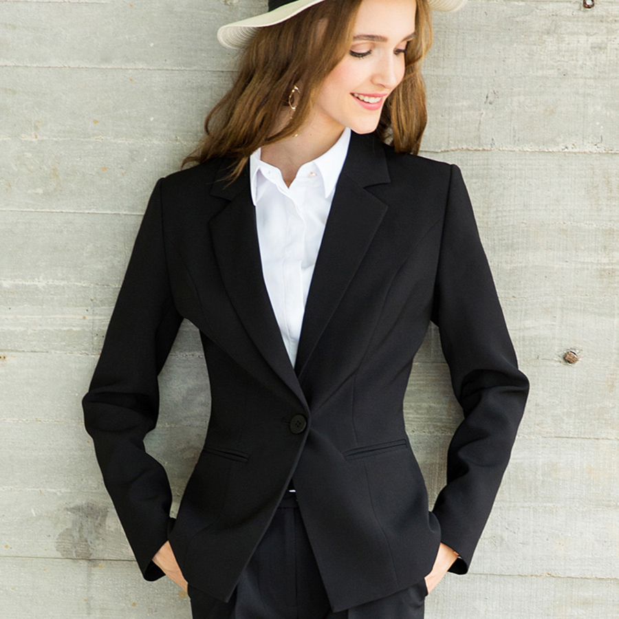 Autumn Winter Blazer Women Office Tops Office Wear Black ...