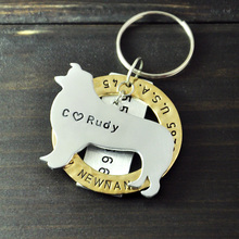 Border Collie Dog Tag, Personalized Pet Tags, Hand Stamped Jewelry, Customized for Your