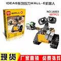 2016 Nueva Lepin 16003 Idea Robot WALL E Ladrillos Edificio Kits Set Minifiguras BlocksBringuedos
