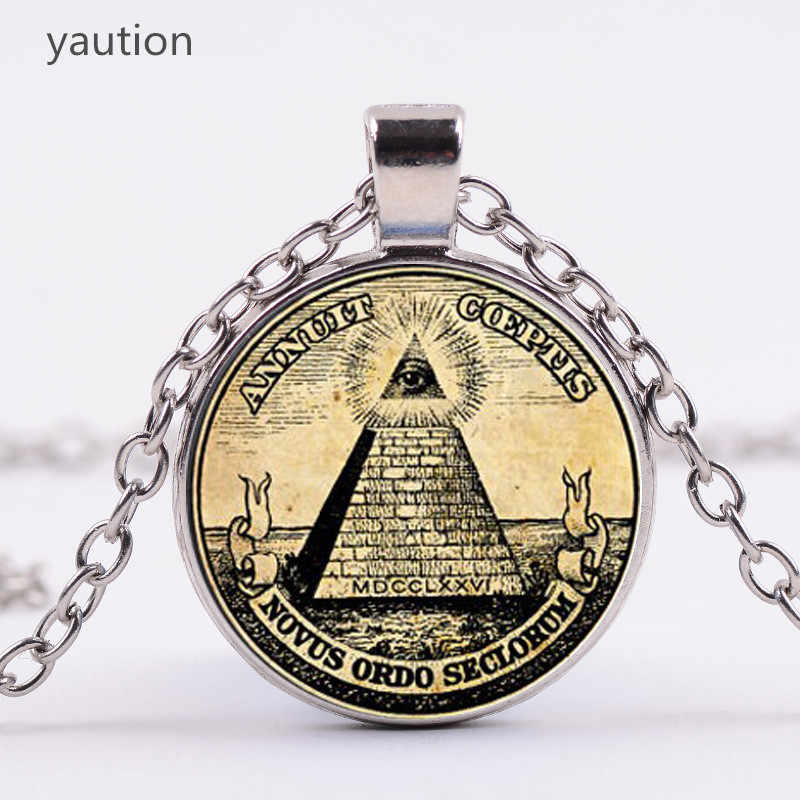 Vintage Symbol Masonic Illuminati Antique Print Illustration Poster Glass Pendant Necklace Fashion Statement Choker Necklace