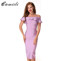 CIEMIILI 2017 New Women Ruffles Bandage Dress Evening Party Bodycon Off The Shoulder Elegant Noble Vestidos