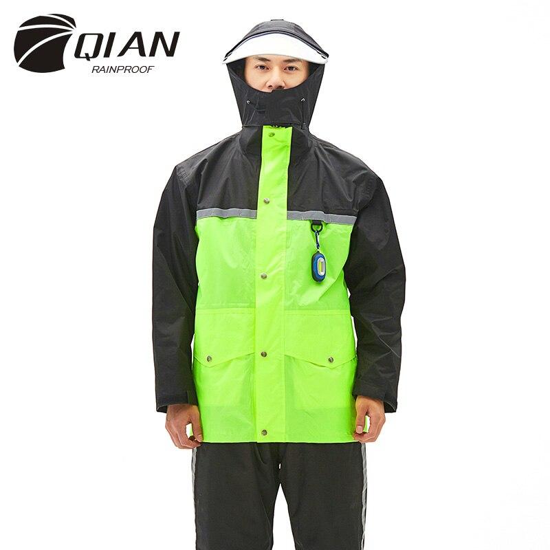 QIAN Brand Impermeable Raincoats Women/Men Jacket Pants Set 2 Pieces Rain Poncho Thicker Police Working Wear Motorcycle Rainsuit