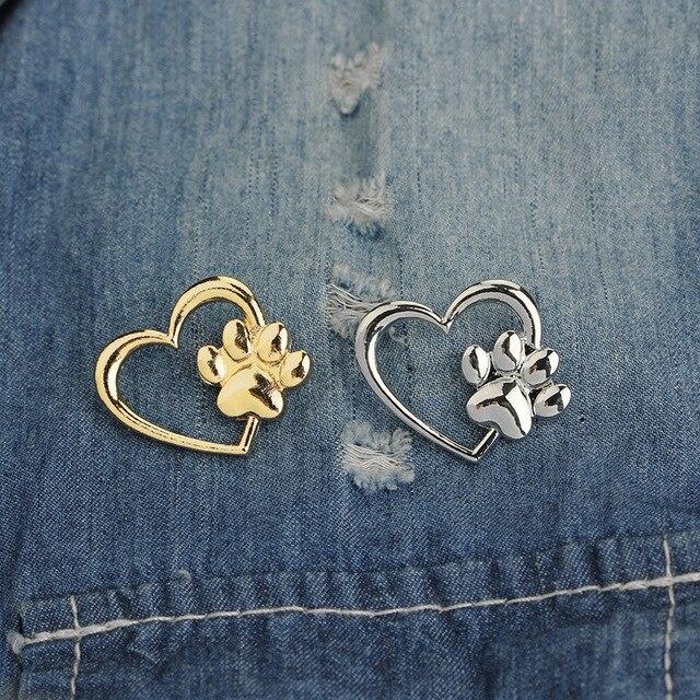 Poot in hart Broche Hond poten Kat claw Pins Goud Zilver Trui Revers Pin Badge Gift Sieraden Dier Broches voor vrouwen Girl Kids