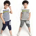 New Summer Cotton Suit  Children's Sports Sets Boys and Girls 88 Striped Kids Suit 4-12 Ages
