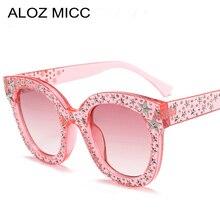 New Women Cat eye Diamond Sunglasses Luxury Brand Vintage Ladies Oversize Crystal Eyewear Oculos De Sol UV400 Q11