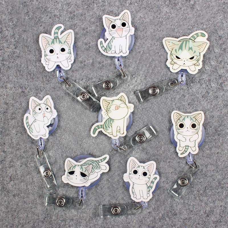 Gray Cute Expression Cat Clown Retractable Badge Card Holder Reel Nurse GirlSchool Students Exhibition Enfermera Name Card Chest
