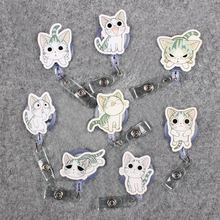 Gray Cute Expression Cat Clown Retractable Badge Card Holder Reel Nurse GirlSchool Students Exhibition Enfermera Name Chest