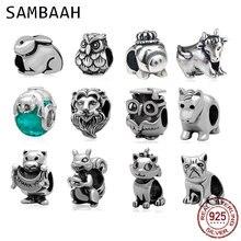 Sambaah Animal Pet Charm 925 Sterling Silver Bunny Pig Dog Owl Cute Cow Cat etc Beads for Original Pandora Bracelet