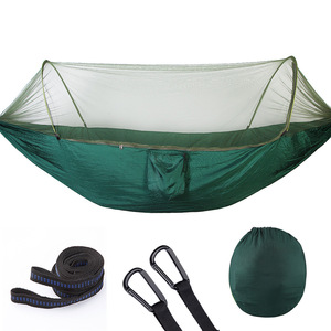 Image 1 - 290X140CM! Automatic unfolding ultralight parachute hammock hunting mosquito net double lifting outdoor furniture hammock
