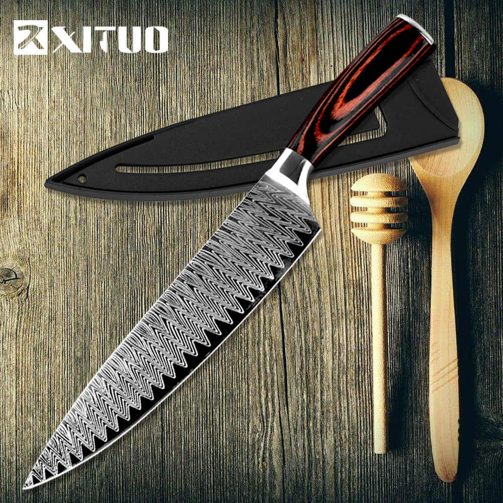 XITUO Kitchen knife Chef Knives 8 inch Japanese High Carbon Stainless Steel Sanding Laser Pattern Santoku Knife Dropshipping New
