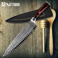 XITUO кухонные ножи шеф-повара 8 дюймов японский Высокоуглеродистый шлифовальный лазерный узор сантоку нож дропшиппинг Новый