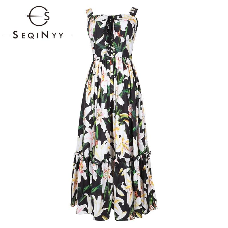 SEQINYY robe sans bretelles 2019 été nouveau Design de mode femmes volants romantique blanc fleurs de lys imprimé noir robe en coton Midi